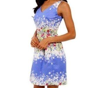 TAHARI Floral Jacquard Periwinkle Dress - Size 16